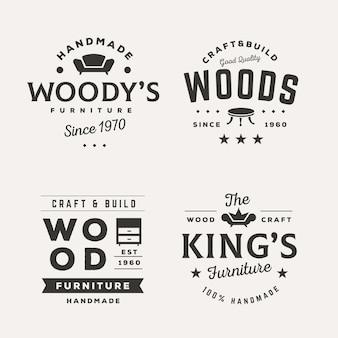 さまざまなレトロ家具ロゴのコレクション