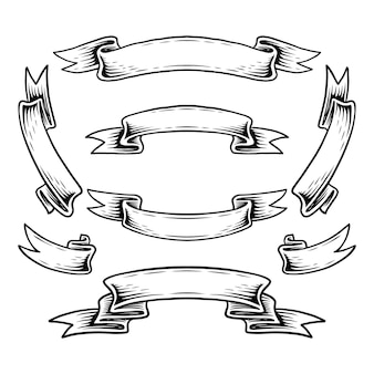 다른 리본 세트 빈티지 벡터 디자인 요소의 컬렉션