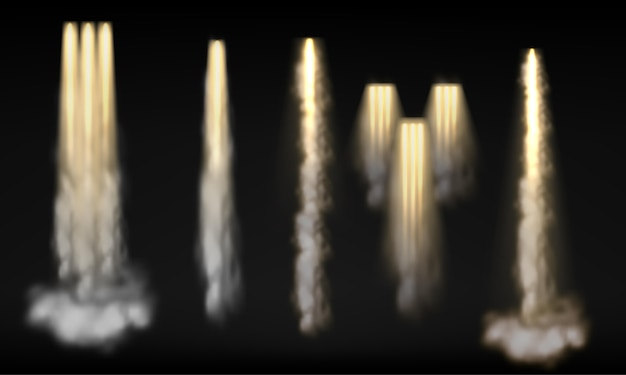 다른 로켓 우주선의 컬렉션 연기