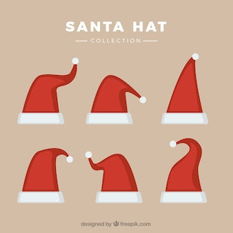 Collection of different santa claus hats