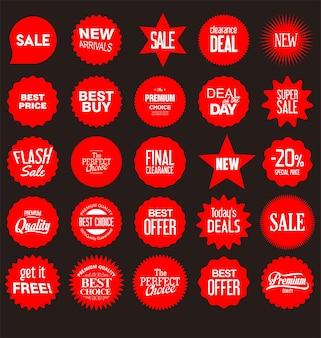 다른 모양 스티커 가격표 아이콘의 컬렉션