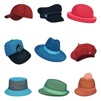 다른 스타일의 모자 컬렉션