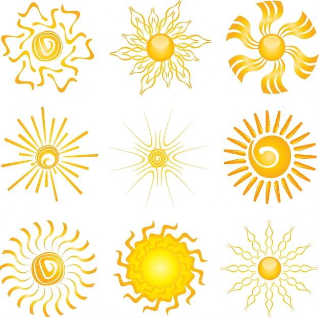 Коллекция различных дизайнов иконок солнца