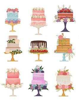 Коллекция различных видов тортов на стенде. иллюстрация на белом фоне.