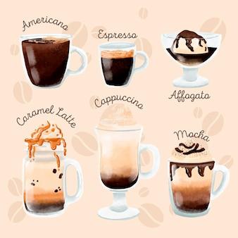 커피의 다른 유형의 컬렉션 무료 벡터
