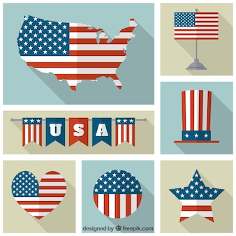 Collection of different usa flags