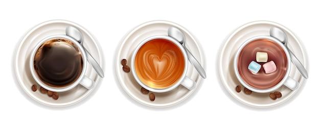 Коллекция различных сортов кофе сверху