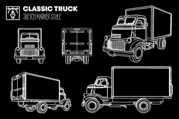 Коллекция различных представлений классических силуэтов грузовиков. рисунки с эффектом маркера.