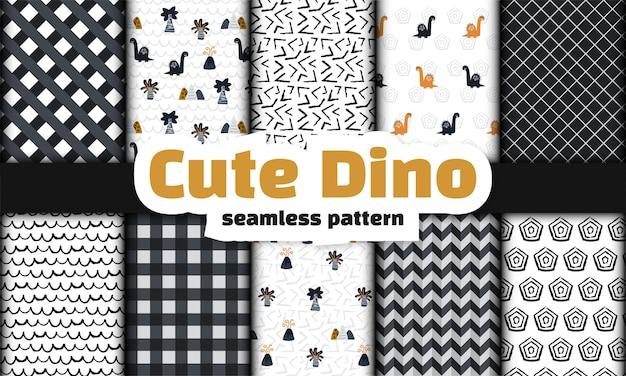 恐竜のシームレスパターンのコレクション。