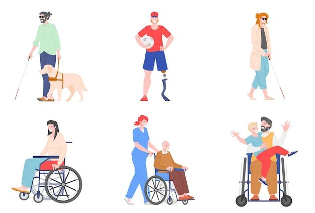 Коллекция иллюстрации людей с ограниченными возможностями