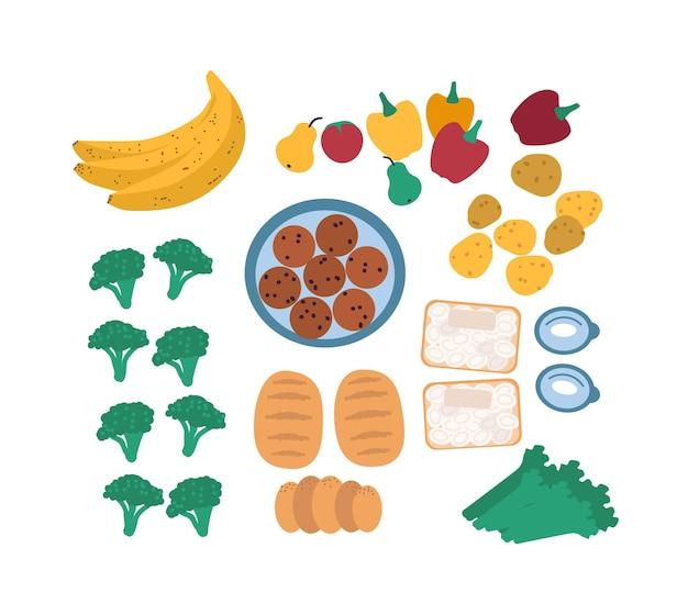白い背景で隔離のフリーガンのための廃棄された食品のコレクション-果物、野菜、卵、パン。採餌または救助された食用の残り物の束。フラット漫画カラフルなベクトルイラスト。