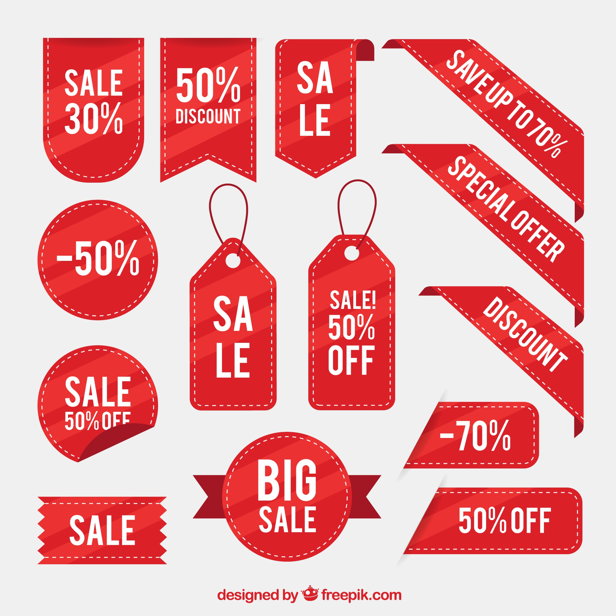 Collection of discount stickers