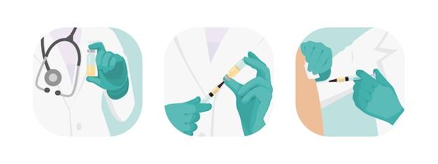 予防接種をしている医師のコレクション