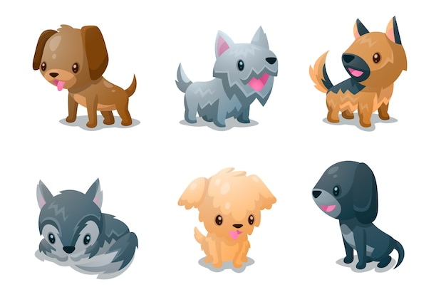 Коллекция собак пушистых спутников