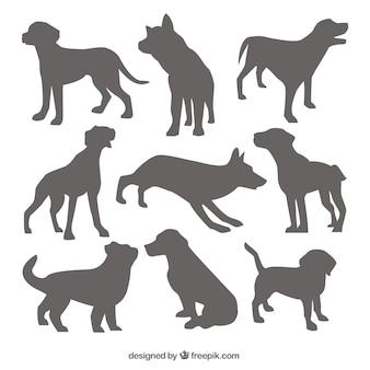 Коллекция силуэтов собак