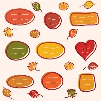 葉とカボチャの落書き秋テキストフレームのコレクション。手描きイラスト。