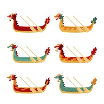 ドラゴンボートとパドルのフラットデザインのコレクション