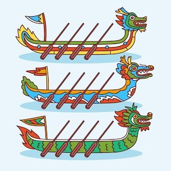 ドラゴンボートとパドルの手描きのコレクション