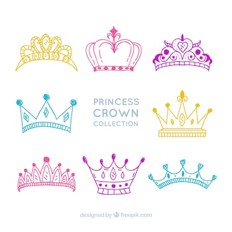 Collection of drawings of princess crowns