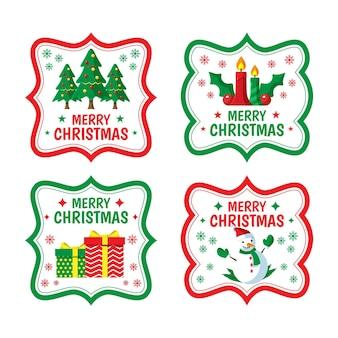그려진 된 크리스마스 배지 컬렉션