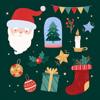 描かれたクリスマスの要素のコレクション