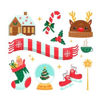 描かれたクリスマス要素のコレクション