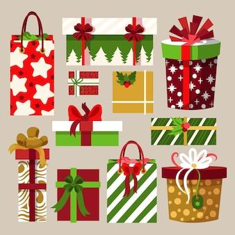 Коллекция нарисованных рождественских подарков