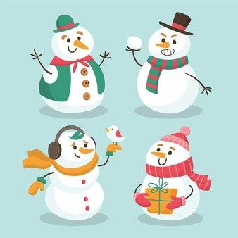 Коллекция нарисованных рождественских снеговиков