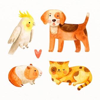 Коллекция нарисованных милых домашних животных