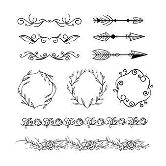 描かれた装飾的な要素のコレクション