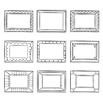 Коллекция нарисованных декоративных рамок