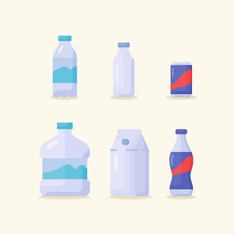 베이지 색에 고립 된 음료 음료 아이콘 모음