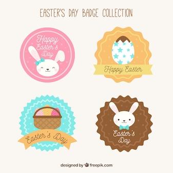 Коллекция пасхальных этикеток в плоском дизайне