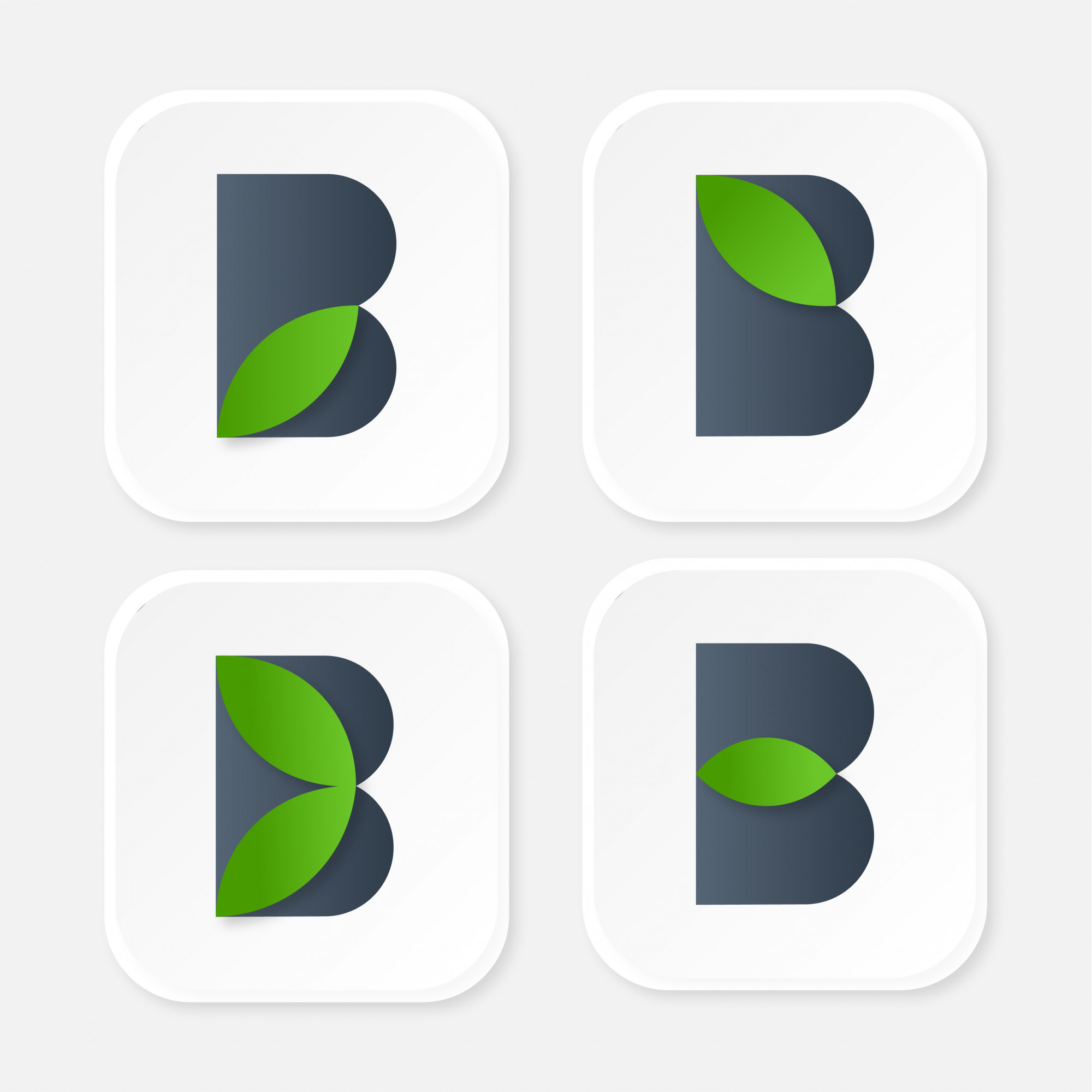 Collection of ecological logos with the letter B