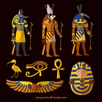 Collection of egypt gods and symbols