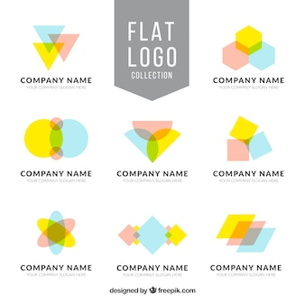 Collection of eight flat logos with geometric shapes