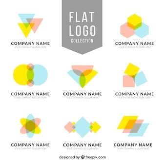 幾何学的形状を有する8フラットロゴのコレクション