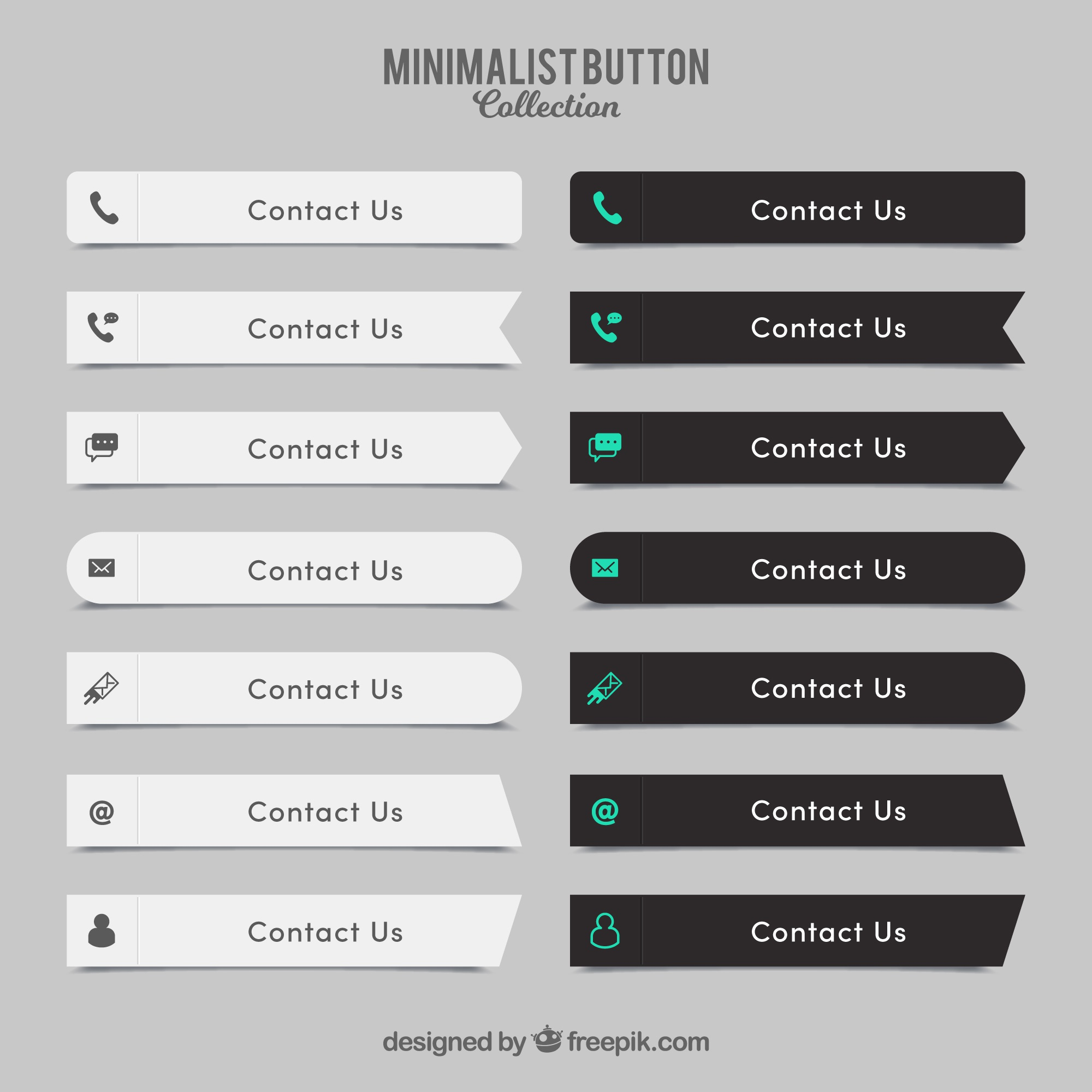 Collection of elegant contact buttons