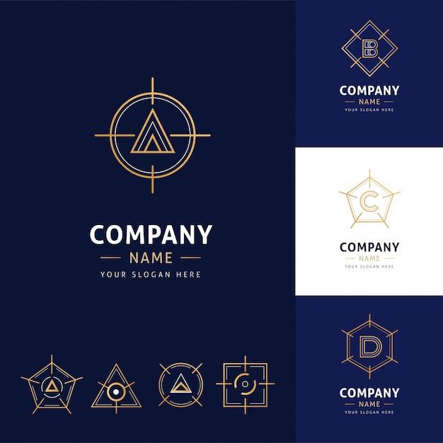 ゴールドカラーのエレガントな幾何学的建築ロゴのコレクション