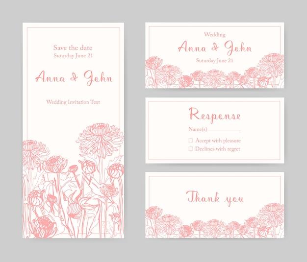 チラシ、日付カードを保存、または白い背景にピンクの線で手描きの美しい日本の菊の花と結婚式の招待状のエレガントなテンプレートのコレクション。ベクトルイラスト。