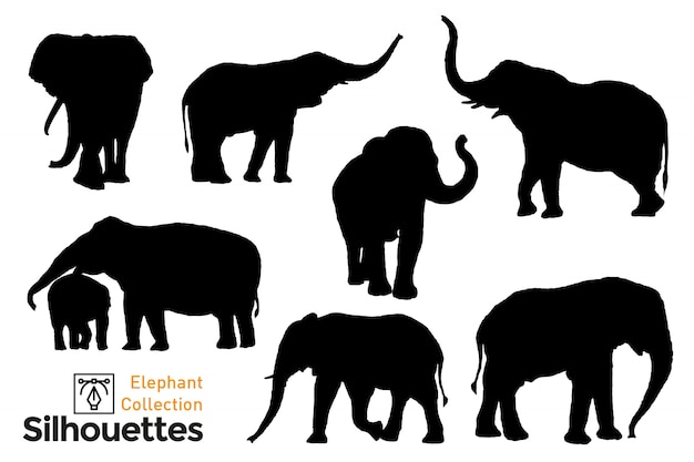 Коллекция силуэтов слона