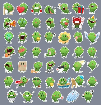 Сборник emoji cartoon frog. наклейки эмоции вектор