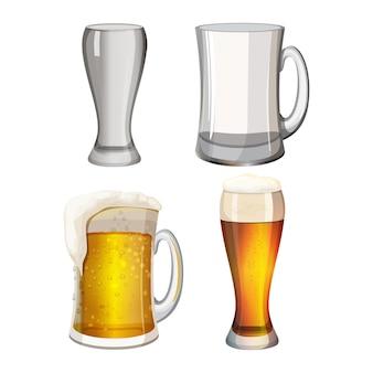 Коллекция пустых пивных кружек и с легким алкогольным напитком