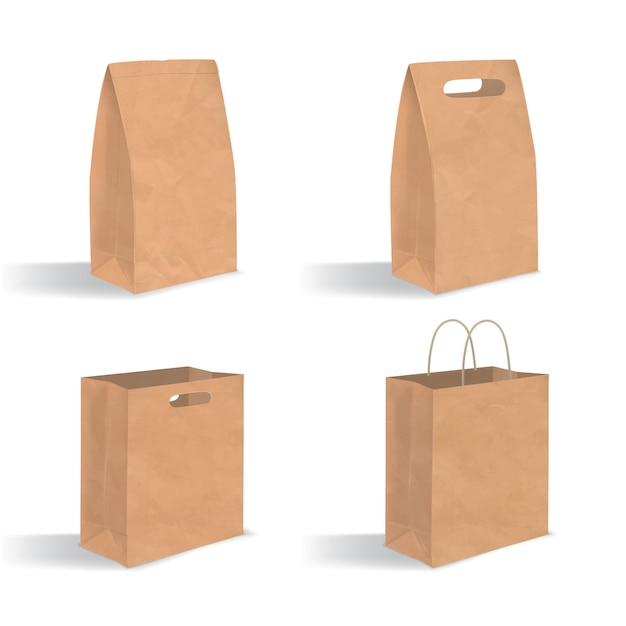 ハンドル付きの空の茶色の紙袋のコレクション。白い背景で隔離の影とリアルなクラフトパッケージ。デザインテンプレートのセット。