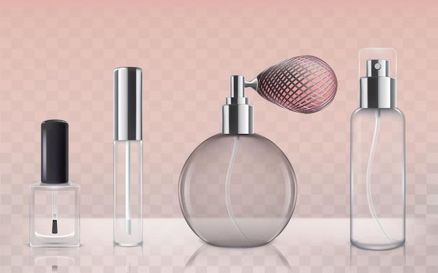 Коллекция пустых стеклянных косметических бутылок в реалистичном стиле