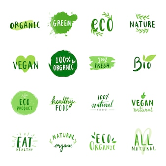 Collection of environmental friendly typography vectors