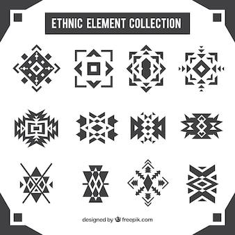 Коллекция этнических абстрактных фигур Бесплатные векторы