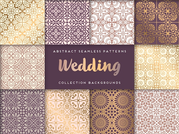 Этнические цветочные свадьба бесшовные модели абстрактные декоративные шаблон