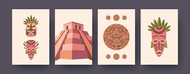 Коллекция этнических иллюстраций культуры майя