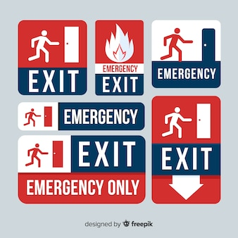 Collection of exit signs